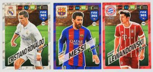 3 cards set  Messi Ronaldo Lewandowski  FIFA 365 2018